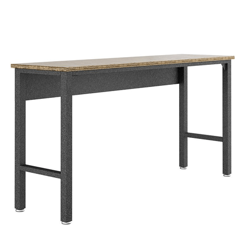 "Manhattan Comfort Work Benches Fortress Manhattan Comfort Fortress 72.4"" Garage Table in Natural Wood and Steel 6GMC 6GMC"