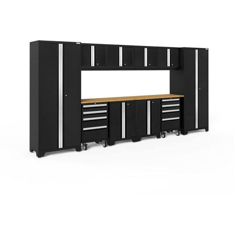 Image of NewAge Products Garage Cabinets Black / Bamboo NewAge Products BOLD SERIES 3.0 12 Piece Cabinet Set 50410 63202