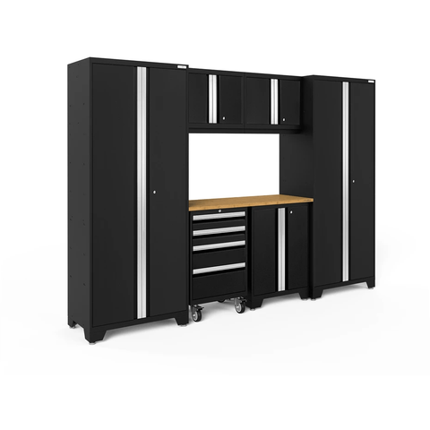 Image of NewAge Products Garage Cabinets Black / Bamboo NewAge Products BOLD SERIES 3.0 7 Piece Garage Cabinet Set 50421 63054