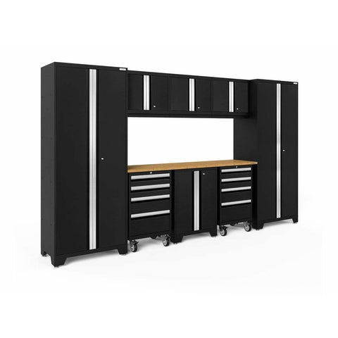 Image of NewAge Products Garage Cabinets Black / Bamboo NewAge Products BOLD SERIES 3.0 9 Piece Cabinet Set 50406 63198