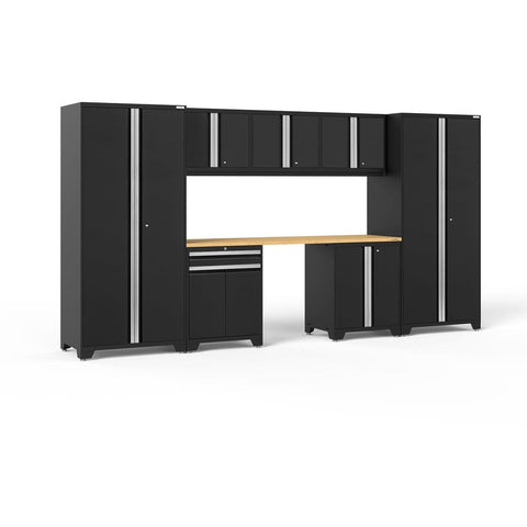 NewAge Products Garage Cabinets Black / Bamboo NewAge Products PRO SERIES 3.0 8 Piece Cabinet Set 52096