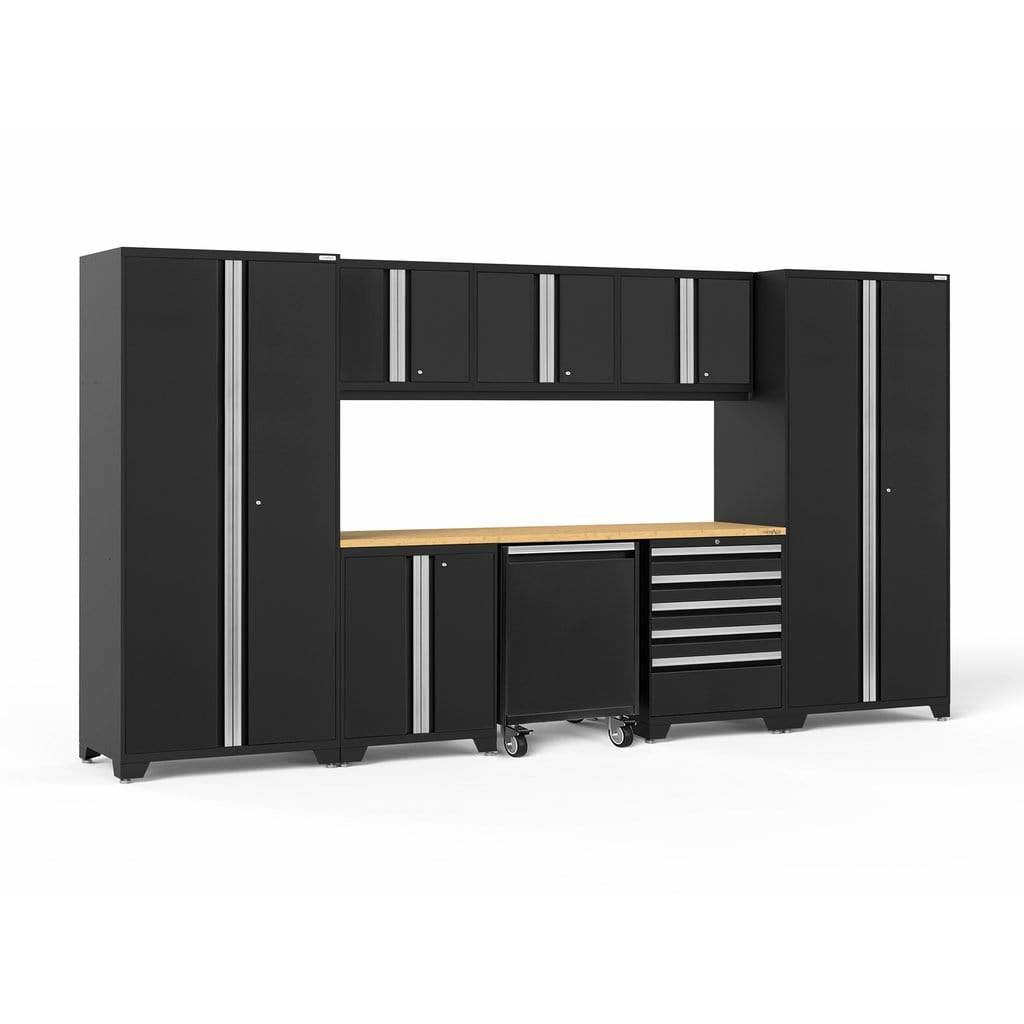 NewAge Products Garage Cabinets Black / Bamboo - Pre-Order (ETA 90 Days or More) NewAge Products PRO SERIES 3.0 9 Piece Cabinet Set 56851 64343