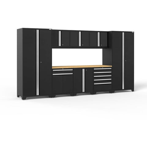 Image of NewAge Products Garage Cabinets Black- Pre-Order (ETA 90 Days or More) / Bamboo NewAge Products PRO SERIES 3.0 9 Piece Cabinet Set 52066 64180