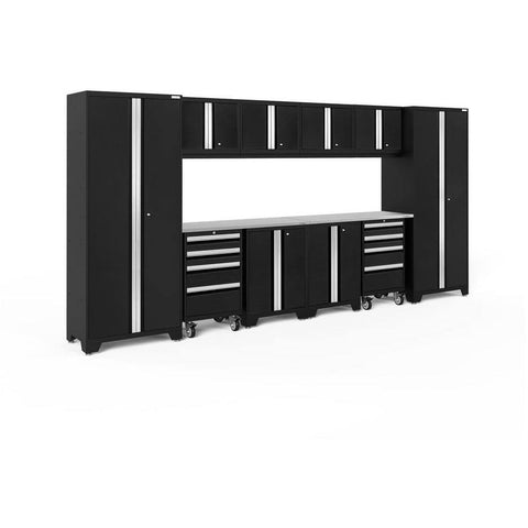 Image of NewAge Products Garage Cabinets Black / Stainless Steel NewAge Products BOLD SERIES 3.0 12 Piece Cabinet Set 50410 63203