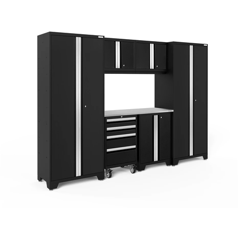 Image of NewAge Products Garage Cabinets Black / Stainless Steel NewAge Products BOLD SERIES 3.0 7 Piece Garage Cabinet Set 50421 63053