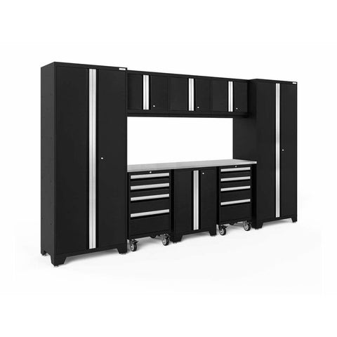 Image of NewAge Products Garage Cabinets Black / Stainless Steel NewAge Products BOLD SERIES 3.0 9 Piece Cabinet Set 50406 63199