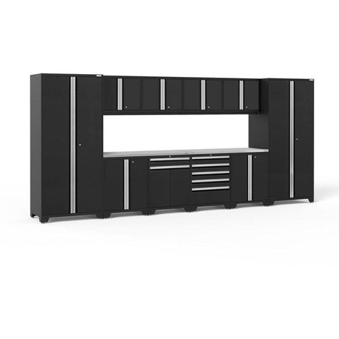NewAge Products Garage Cabinets Black / Stainless Steel NewAge Products PRO SERIES 3.0 12 Piece Cabinet Set 52153 64286