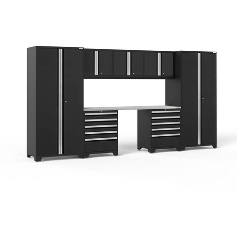 NewAge Products Garage Cabinets Black / Stainless Steel NewAge Products PRO SERIES 3.0 8 Piece Cabinet Set 52090 64124