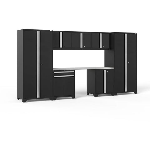 NewAge Products Garage Cabinets Black / Stainless Steel NewAge Products PRO SERIES 3.0 8 Piece Cabinet Set 52096