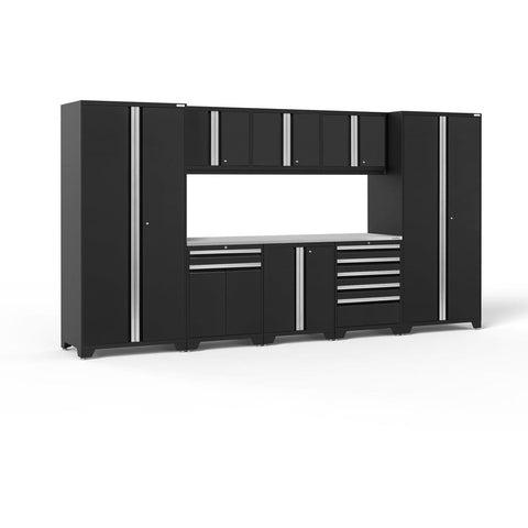 Image of NewAge Products Garage Cabinets Black / Stainless Steel NewAge Products PRO SERIES 3.0 9 Piece Cabinet Set 52066 64182
