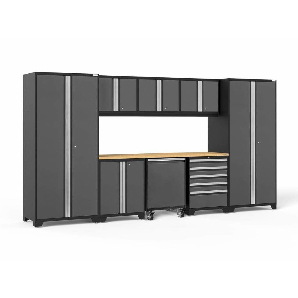 NewAge Products Garage Cabinets Gray / Bamboo - In Stock NewAge Products PRO SERIES 3.0 9 Piece Cabinet Set 56851 56851
