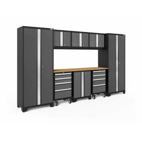 Image of NewAge Products Garage Cabinets Gray / Bamboo NewAge Products BOLD SERIES 3.0 9 Piece Cabinet Set 50406 50406
