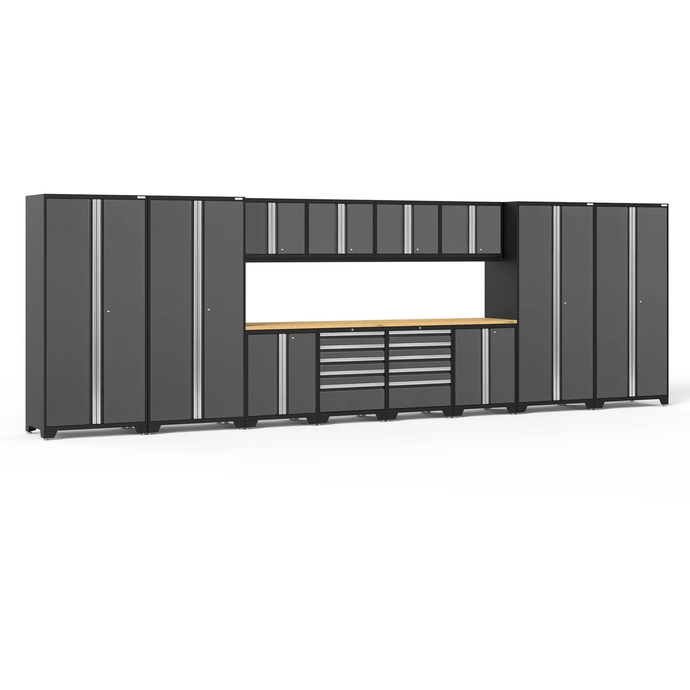 NewAge Products Garage Cabinets Gray / Bamboo NewAge Products PRO SERIES 3.0 14 Piece Cabinet Set 52143 52143