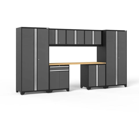 NewAge Products Garage Cabinets Gray / Bamboo NewAge Products PRO SERIES 3.0 8 Piece Cabinet Set 52096 52096