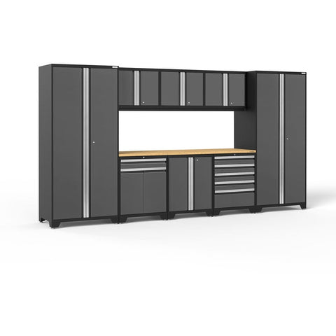 Image of NewAge Products Garage Cabinets Gray- Pre-Order (ETA 90 Days or More) / Bamboo NewAge Products PRO SERIES 3.0 9 Piece Cabinet Set 52066 52066