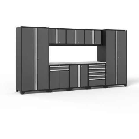 Image of NewAge Products Garage Cabinets Gray- Pre-Order (ETA 90 Days or More) / Stainless Steel NewAge Products PRO SERIES 3.0 9 Piece Cabinet Set 52066 52162