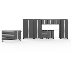 NewAge Products Garage Cabinets Gray / Stainless Steel / Gray Bamboo NewAge Products BOLD SERIES 3.0 10 Piece Cabinet Set 50514 56119