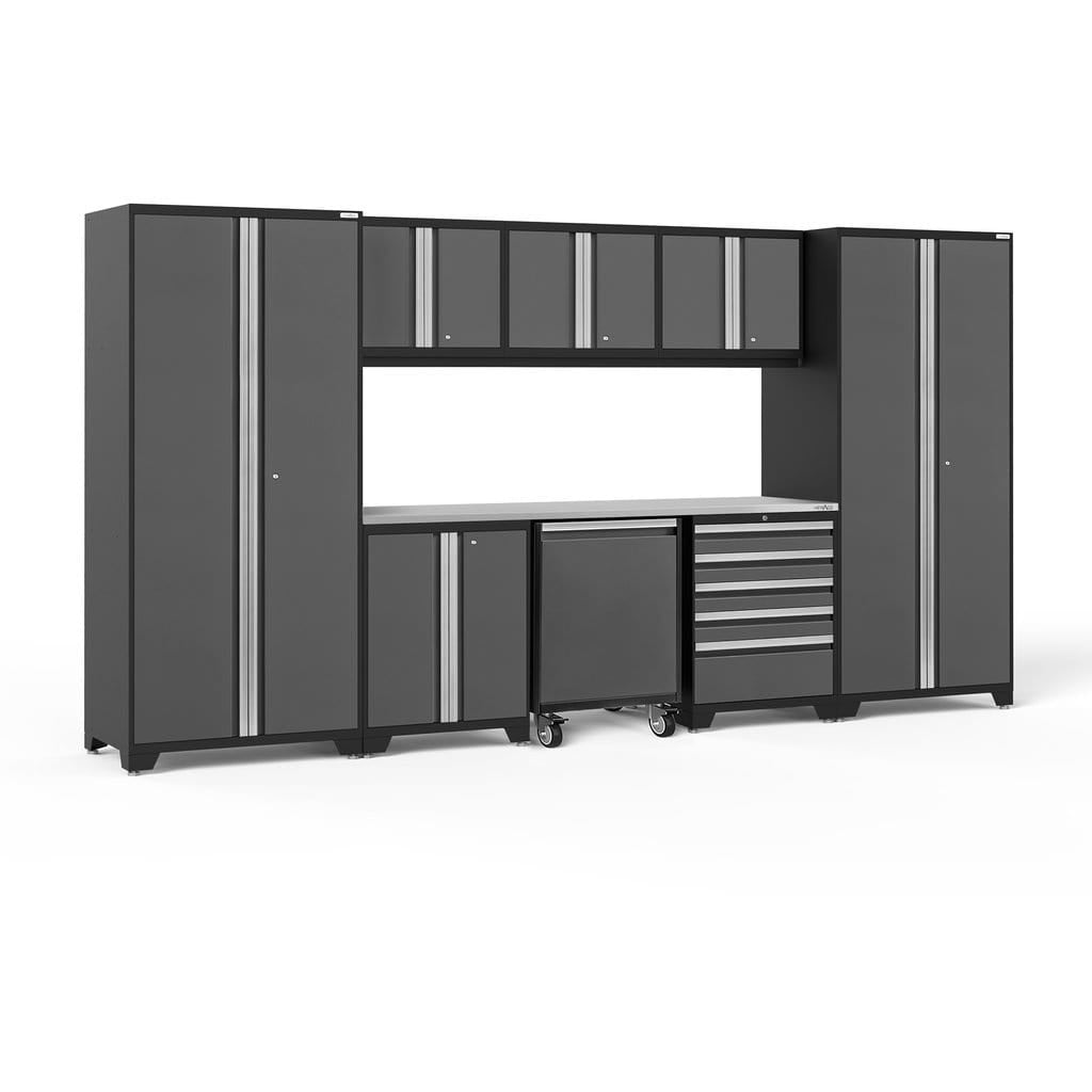 NewAge Products Garage Cabinets Gray / Stainless Steel - In Stock NewAge Products PRO SERIES 3.0 9 Piece Cabinet Set 56851 56852