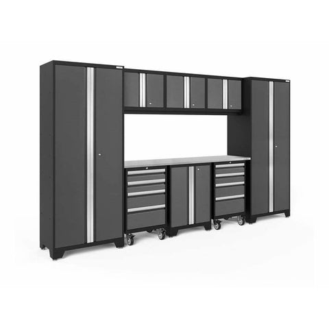 Image of NewAge Products Garage Cabinets Gray / Stainless Steel NewAge Products BOLD SERIES 3.0 9 Piece Cabinet Set 50406 50407