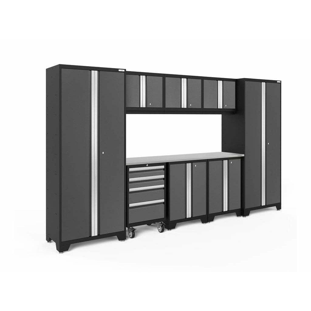 NewAge Products Garage Cabinets Gray / Stainless Steel NewAge Products BOLD SERIES 3.0 9 Piece Cabinet Set 50408 50409