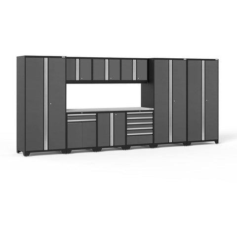 NewAge Products Garage Cabinets Gray / Stainless Steel NewAge Products PRO SERIES 3.0 10 Piece Cabinet Set 52151