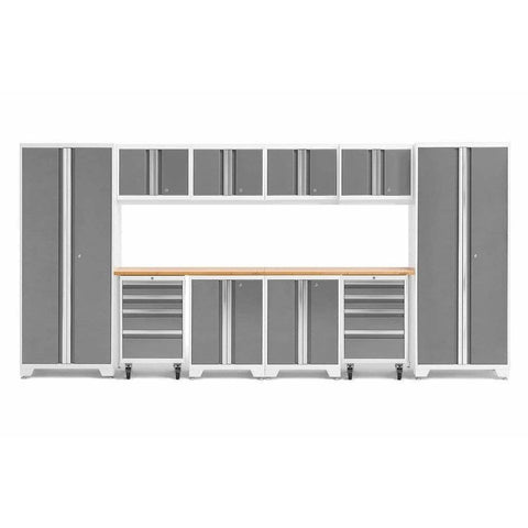 Image of NewAge Products Garage Cabinets Platinum / Bamboo NewAge Products BOLD SERIES 3.0 12 Piece Cabinet Set 50410 56915