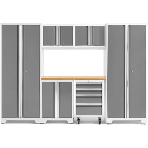 NewAge Products Garage Cabinets Platinum / Bamboo NewAge Products BOLD SERIES 3.0 7 Piece Garage Cabinet Set 50421 54872