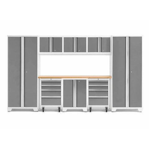 Image of NewAge Products Garage Cabinets Platinum / Bamboo NewAge Products BOLD SERIES 3.0 9 Piece Cabinet Set 50406 56907
