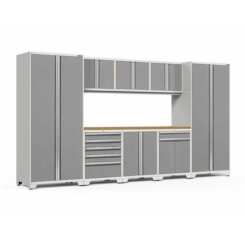Image of NewAge Products Garage Cabinets Platinum / Bamboo NewAge Products PRO SERIES 3.0 9 Piece Cabinet Set 52066 52466