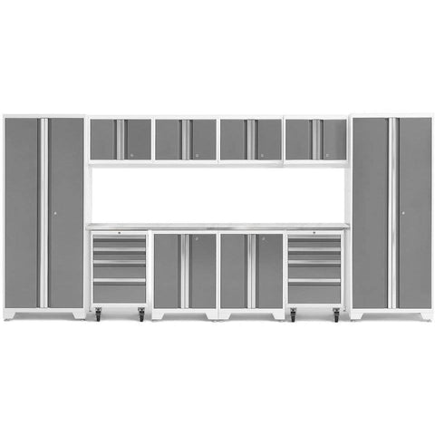 Image of NewAge Products Garage Cabinets Platinum / Stainless Steel NewAge Products BOLD SERIES 3.0 12 Piece Cabinet Set 50410 56916