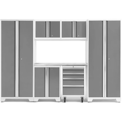 Image of NewAge Products Garage Cabinets Platinum / Stainless Steel NewAge Products BOLD SERIES 3.0 7 Piece Garage Cabinet Set 50421 54871