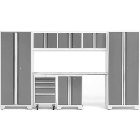 NewAge Products Garage Cabinets Platinum / Stainless Steel NewAge Products BOLD SERIES 3.0 8 Piece Cabinet Set 50404 54931