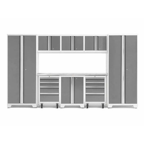 Image of NewAge Products Garage Cabinets Platinum / Stainless Steel NewAge Products BOLD SERIES 3.0 9 Piece Cabinet Set 50406 56908