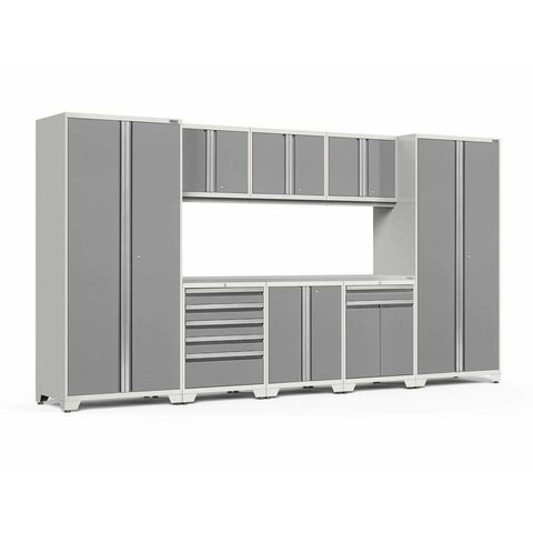 Image of NewAge Products Garage Cabinets Platinum / Stainless Steel NewAge Products PRO SERIES 3.0 9 Piece Cabinet Set 52066 52562