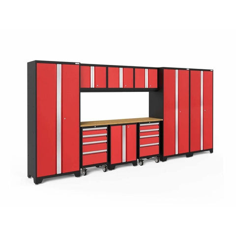NewAge Products Garage Cabinets Red / Bamboo NewAge Products BOLD SERIES 3.0 10 Piece Cabinet Set 63249