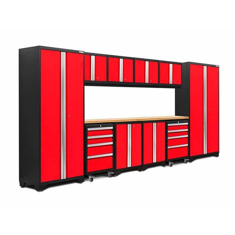 Image of NewAge Products Garage Cabinets Red / Bamboo NewAge Products BOLD SERIES 3.0 12 Piece Cabinet Set 50410 50610