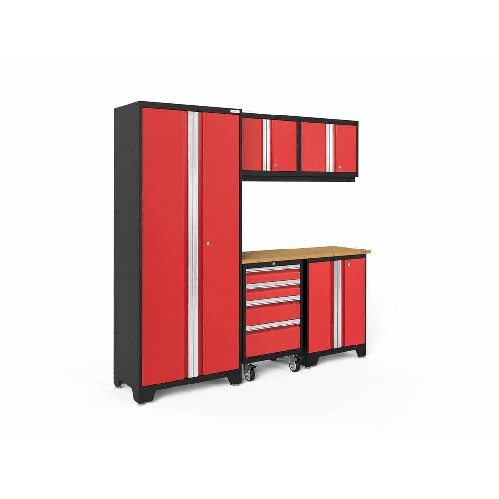 NewAge Products Garage Cabinets Red / Bamboo NewAge Products BOLD SERIES 3.0 6 Piece Cabinet Set 50400 50601