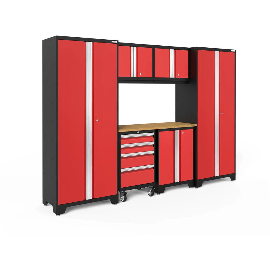 NewAge Products Garage Cabinets Red / Bamboo NewAge Products BOLD SERIES 3.0 7 Piece Garage Cabinet Set 50421 50621