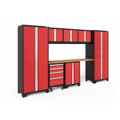 NewAge Products Garage Cabinets Red / Bamboo NewAge Products BOLD SERIES 3.0 8 Piece Cabinet Set 50404 50605
