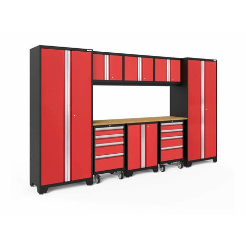 Image of NewAge Products Garage Cabinets Red / Bamboo NewAge Products BOLD SERIES 3.0 9 Piece Cabinet Set 50406 50606