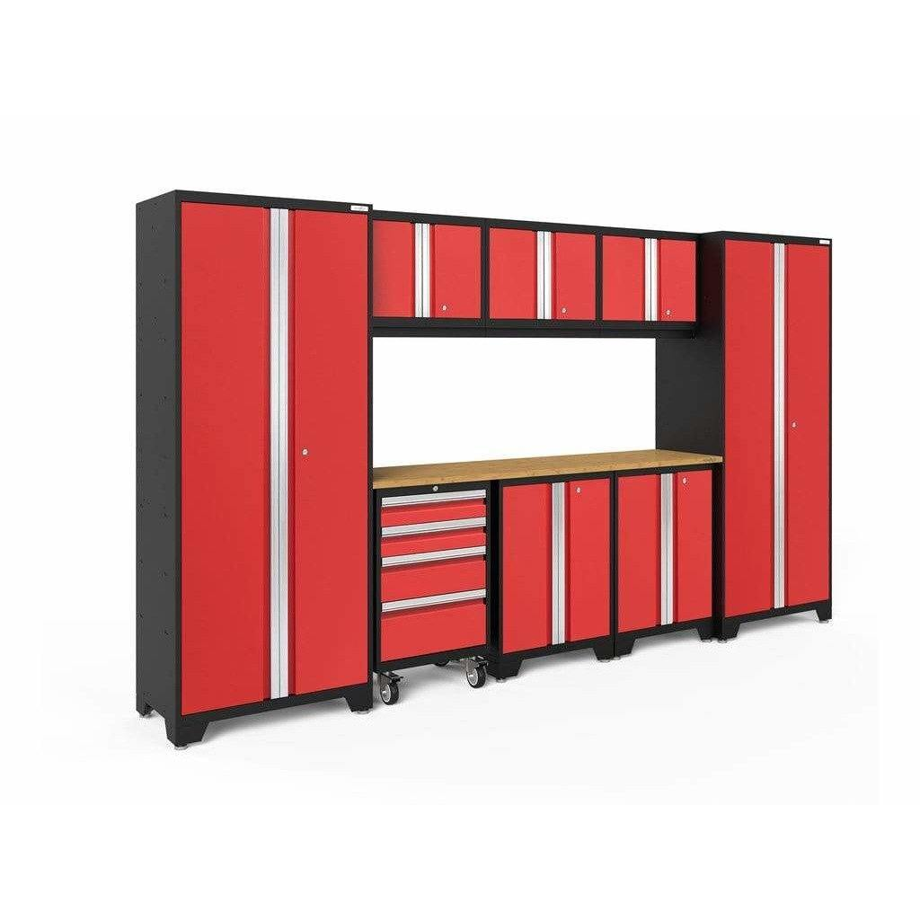 NewAge Products Garage Cabinets Red / Bamboo NewAge Products BOLD SERIES 3.0 9 Piece Cabinet Set 50408 50608