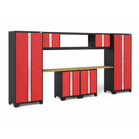 NewAge Products Garage Cabinets Red / Bamboo NewAge Products BOLD SERIES 3.0 9 Piece Cabinet Set 50682 50682