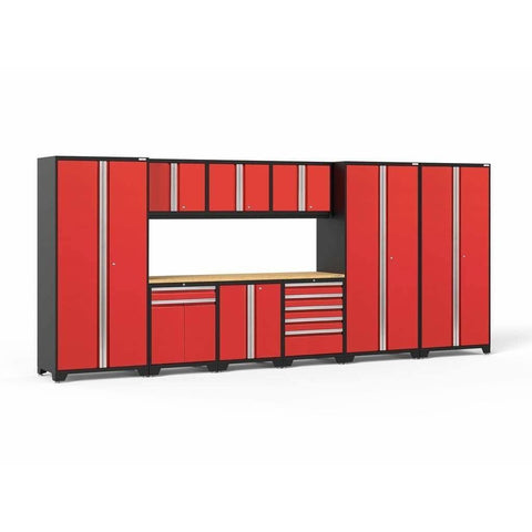 NewAge Products Garage Cabinets Red / Bamboo NewAge Products PRO SERIES 3.0 10 Piece Cabinet Set 52151