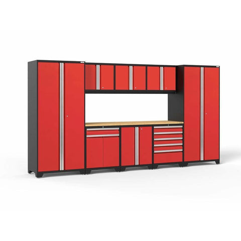 Image of NewAge Products Garage Cabinets Red / Bamboo NewAge Products PRO SERIES 3.0 9 Piece Cabinet Set 52066 52266