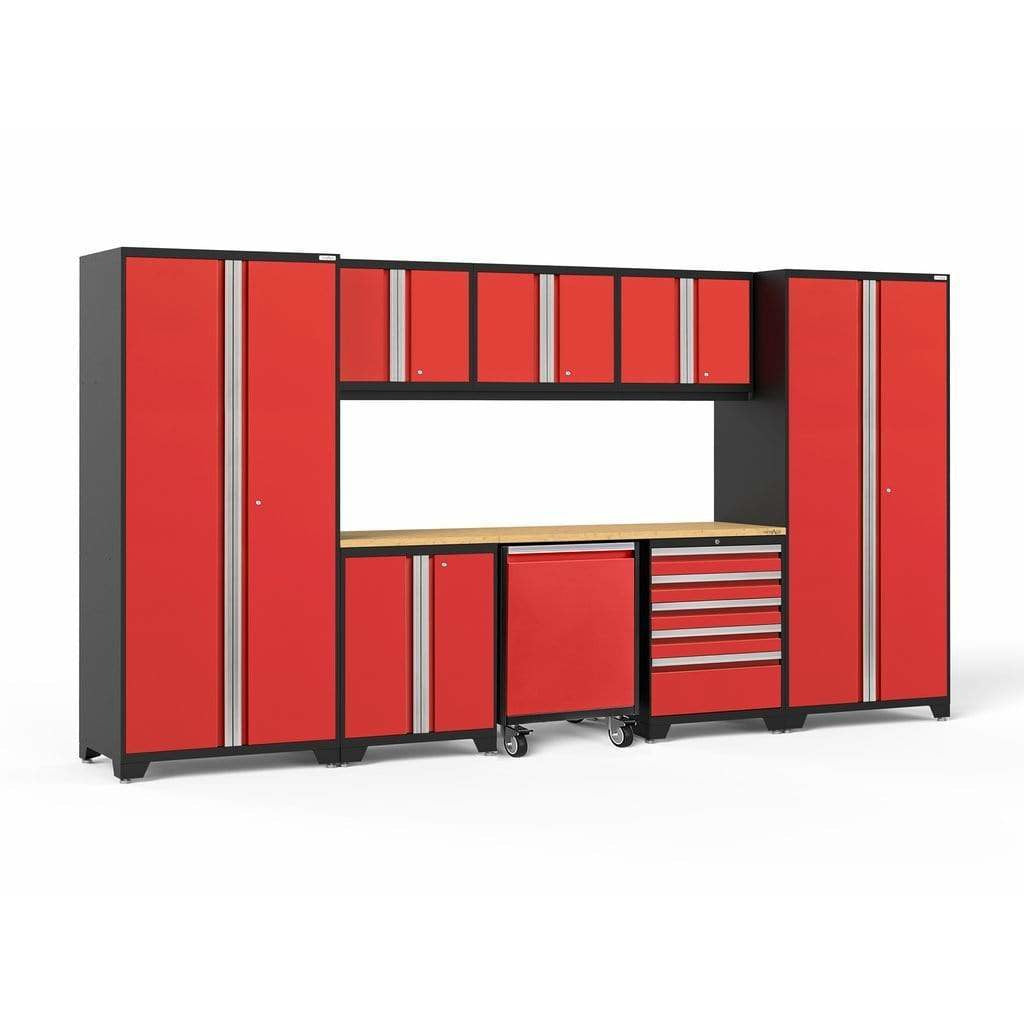 NewAge Products Garage Cabinets Red / Bamboo - Pre-Order (ETA 90 Days or More) NewAge Products PRO SERIES 3.0 9 Piece Cabinet Set 56851 56853