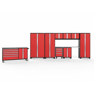 NewAge Products Garage Cabinets Red / Stainless Steel / Gray Bamboo NewAge Products BOLD SERIES 3.0 10 Piece Cabinet Set 50514 56462