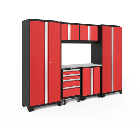 Image of NewAge Products Garage Cabinets Red / Stainless Steel NewAge Products BOLD SERIES 3.0 7 Piece Garage Cabinet Set 50421 50620