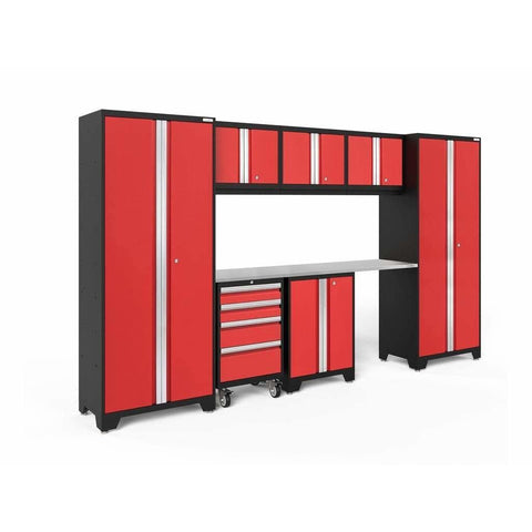 NewAge Products Garage Cabinets Red / Stainless Steel NewAge Products BOLD SERIES 3.0 8 Piece Cabinet Set 50404 50604