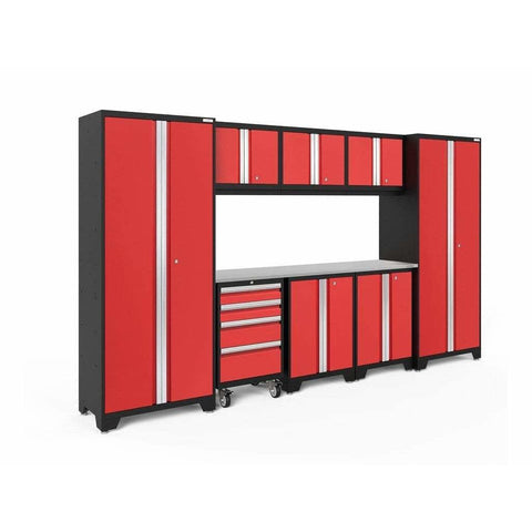 NewAge Products Garage Cabinets Red / Stainless Steel NewAge Products BOLD SERIES 3.0 9 Piece Cabinet Set 50408 50609