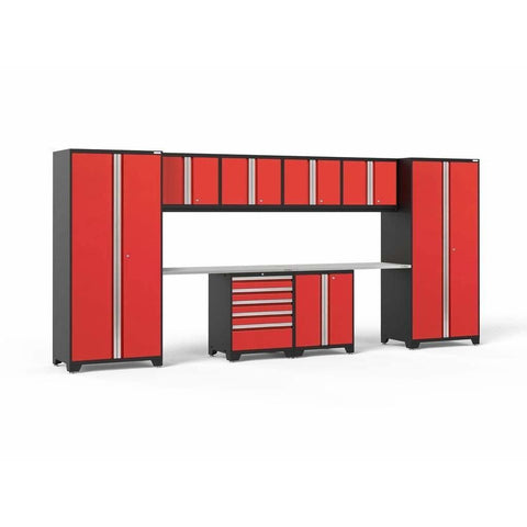 NewAge Products Garage Cabinets Red / Stainless Steel NewAge Products PRO SERIES 3.0 10 Piece Cabinet Set 52050 52254